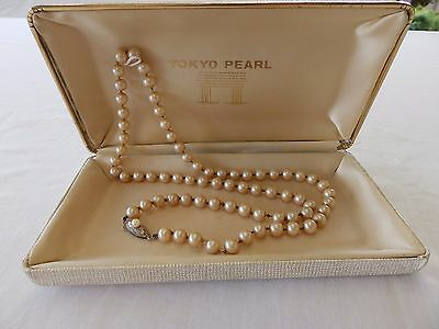 Vintage, Antique Strand Pearl Necklace With Sterling Silver Clasp In Orig? Box