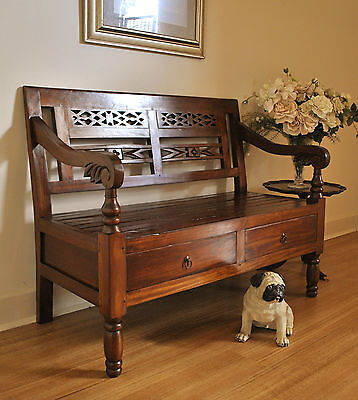 Rustic Carved Mahogany Indoor /Outdoor Bench Hall Feature Window Seat ~2 Drawers