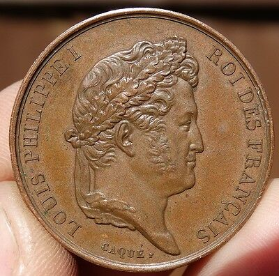 SUPERB !!! FRANCE - AE33mm MEDAL  DATED 1833   of  KING LOUIS PHILIPPE I