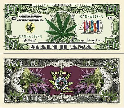 Medical Marijuana Cannabis 420 Dollar Bill Funny Money Novelty Note +FREE SLEEVE