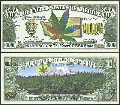 Washington 420 Recreational Marijuana Cannabis Million Dollar Bill + FREE SLEEVE