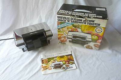 Vintage Breville Scissor Action Snack 'N' Sandwich Toaster In Box + Instructions