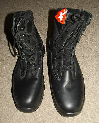 British Army Issued Black Leather Goliath Combat Boots, Size 10 Med