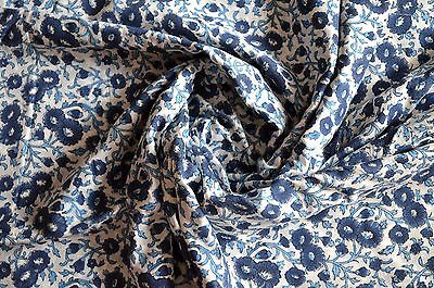 Indian Blue Cotton Voile Fabric Sewing Hand Block Print Craft Material By 1 Yard