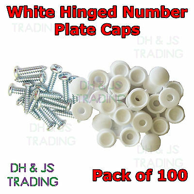 100 x Number Plate Screw Pack Cap Fitting Kit White Screws Flip Top Type Fixing