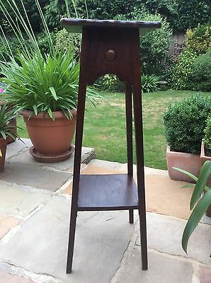 Antique Oak Tapering Plant Lamp Stand Torchere 2 Tiers