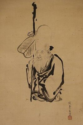 "JAPANESE HANGING SCROLL ART Painting ""Jurojin"" Asian antique  #E5815"