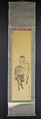 JAPANESE HANGING SCROLL ART Painting  Asian antique  #E5821