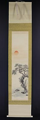 "JAPANESE HANGING SCROLL ART Painting Scenery ""Risign Sun"" Asian antique  #E5820"