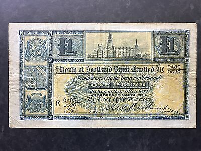 Scotland 1 Pound PS638 North of Scotland Bank Early Date 1st March 1926 Fine