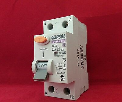 Clipsal Powerguard Wickes Cr6330 63A 63Amp 30Ma Double Pole Dp 2P Rcd Switch New