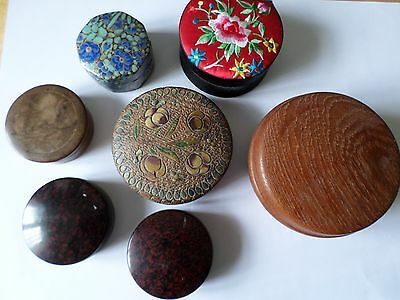 7 vint & mod trinket boxes inc silk top papier mache wood & 2 Ofrex ribbon boxes