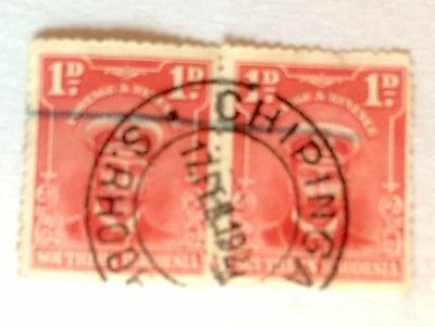 "BRITISH AFRICA SOUTH RHODESIA  GEORGE V 1d RED, PAIR WITH ""CHIPINGA"" POSTMARK(2)"