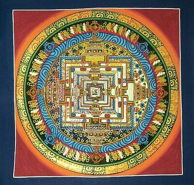 Original Signed Handpainted Mandala Thangka Gold Painting Buddha Meditation 103