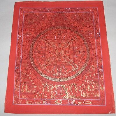 Original Signed Handpainted tibetan chinese Buddha Mandala Thangka Painting