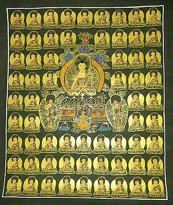 Original Signed Handpainted Mandala Thangka Gold Painting Buddha Meditation 108