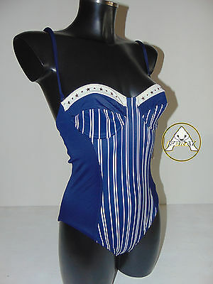 Vintage 80 FILA Costume Intero S 42 Mare Piscina Donna Blu Swimsuit 90 Righe
