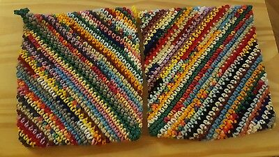 (2) Handmade Crocheted Double Thick Hot Pad Pot Holder   NWOT lot h