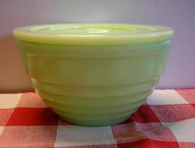 Jeannette Jadite Concentric Rings Drippings Grease Jar Bowl Holder Dish