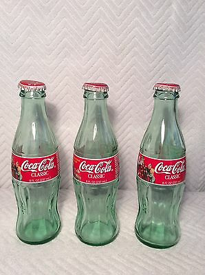 Lot of 3 Chistmas 1998 COCA COLA BOTTLES 8 oz. Green Glass w/Caps ~ Empty