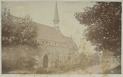 Vintag Postcard, Real Photo Clayton West Church, posted, slightly faded