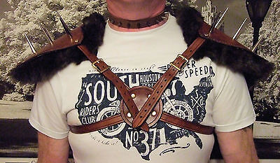 Handmade Leather Medieval Style Pauldrons Armour With Faux Fur Spike & Detailing