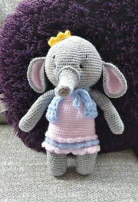 Hand made Crochet Knitted Cuddly Elephant Soft Toy Collectable