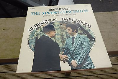 Beethoven 5 Piano Concertos Rubinstein RCA Stereo ED1 CRL5-1415 5LP Box Set