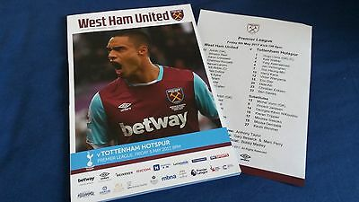West Ham United v Tottenham Premier League 05.05.17 match day programme program