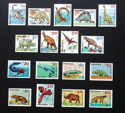 POLAND - 1965-1966 2 Complete Sets DINOSAURS & PREHISTORIC ANIMALS - Used