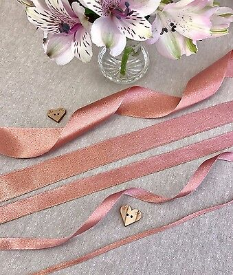 Rose Gold Sparkle Satin Ribbon - 3/10/15/25/38mm - 1/3/5m lengths - 10% OFF 3+