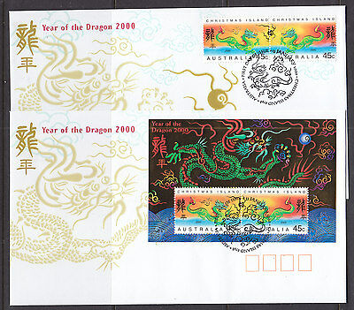 Fdc: Christmas Isl 2000 Year Of The Dragon Sheetlet  And Set