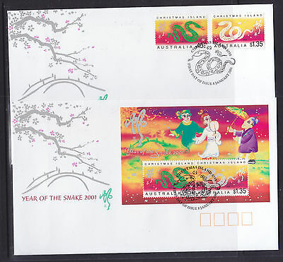 Fdc: Christmas Isl 2001 Year Of The Snake Sheetlet  And Set
