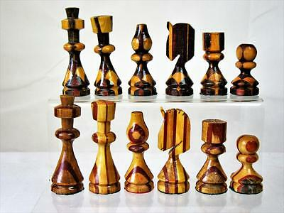 "Vintage Unusual Wooden  Chessmen Set  King  3.25""  No- Box Or Board"