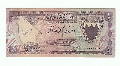 1964 BAHRAIN currency Board first issue half dinar Banknote 1/2