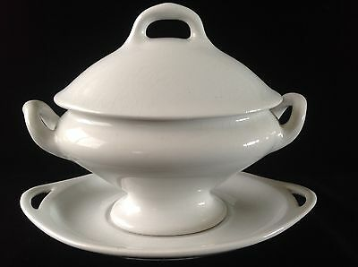 Gelson Bros Imperial White Granite English Ironstone Lidded Tureen w Underplate