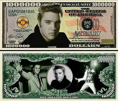 Elvis Presley Million Dollar Bill Collectible Fake Play Funny Money Novelty Note