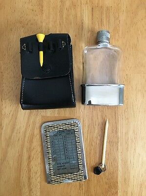 Vintage Golf Accessory Flask Scorecard Tee Holder Made in England Real Hide