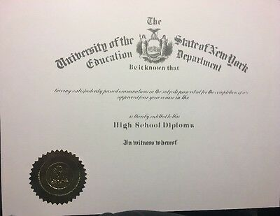 High School Diploma, Comes Blank, Fill In Your Own Information,