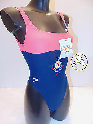 Vintage 80 SPEEDO Costume Intero S 34 Mare Piscina Donna Blu Swimsuit 90 Britain