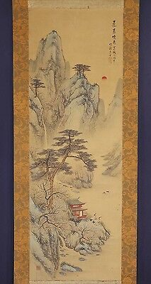 JAPANESE HANGING SCROLL ART Painting Sansui Landscape Mount Penglai  #E5829