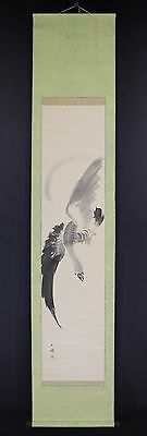 "JAPANESE HANGING SCROLL ART Painting ""Goose"" Asian antique  #E5847"