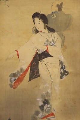 "JAPANESE HANGING SCROLL ART Painting ""Kimono Beauty"" Asian antique  #E5831"