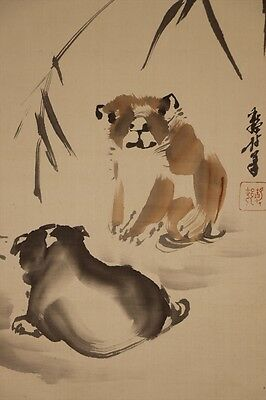 "JAPANESE HANGING SCROLL ART Painting ""Dogs"" Asian antique  #E5822"
