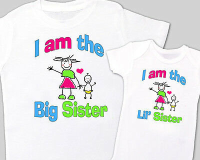 """Matching """"BIG SISTER, Little' SISTER"""" Sibling Shirt WHITE, Tees sold separately"""