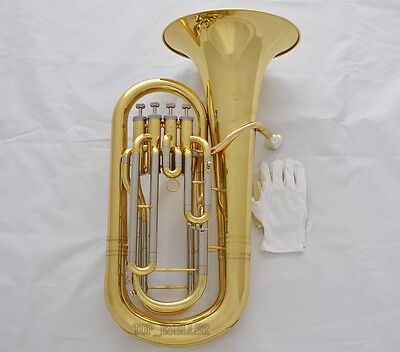 Professional JINBAO Gold Bb Euphonium Horn 4 Valves Cupronickel Side With Case