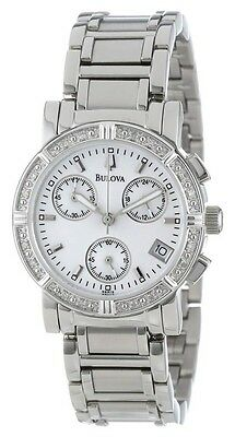 Bulova Women's Diamond Chronograph Mother of Pearl Dial Watch 96R19