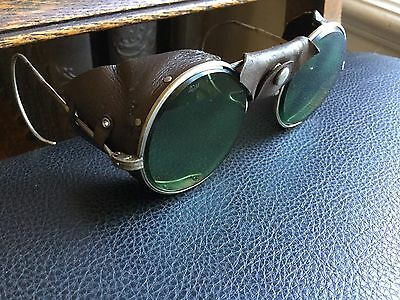 Vintage American Optical Safety Glasses Motorcycle Aviation Leather Sides 1940s