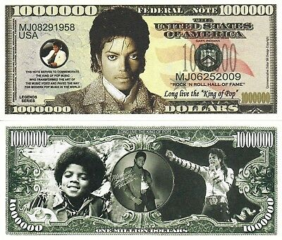 Michael Jackson Million Dollar Bill Fake Funny Money Novelty Note + FREE SLEEVE