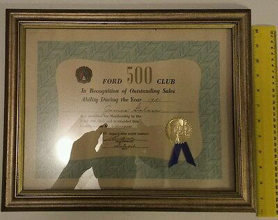 "Rare Original American ""ford 500 Club"" 1951 Outstanding Sales Award - Detroit"